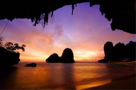phra nang: This is a sunset time at Ao Tham Phra Nang Beach. Stock Photo