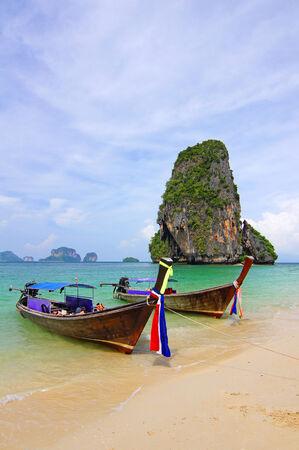 phra nang: This is a boat to Tham Phra Nang Beach. Stock Photo