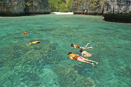 Snorkelling or Skin Diving is the practice of swimming on or through a body of water while equipped with a diving mask, a shaped tube called a snorkel, and usually swim fins. it appeals to all ages because of how little effort there is, and without the ex