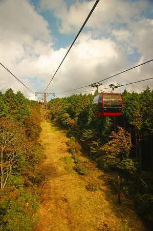 ropeway: This is a Hakone Ropeway. It is go to Owakudani. Stock Photo