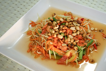 tam: spicy thai food som tam Stock Photo