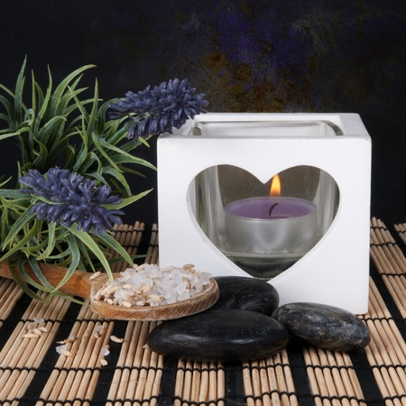 Lavender Spa set with candle and hot stones photo