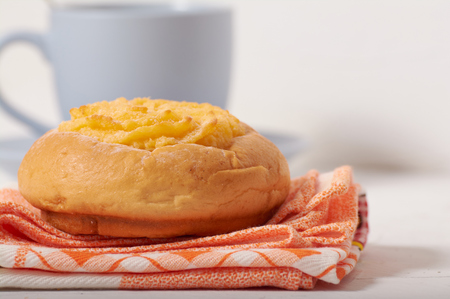 breakfast with coconut cream bun Stockfoto