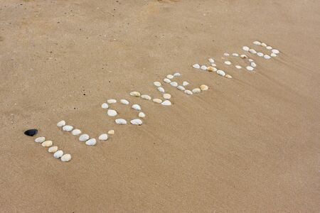 I Love you in sand on a a beach  photo