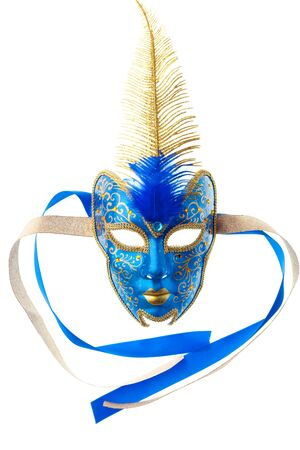 blue and gold mask isolated on a white background photo