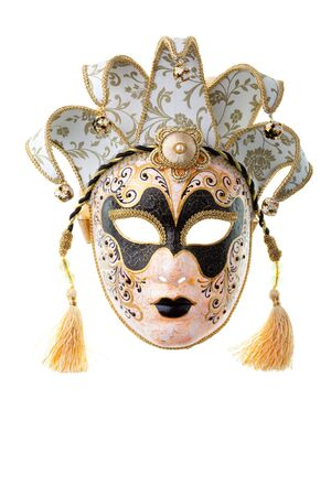 black and gold mask isolated on a white background Banque d'images