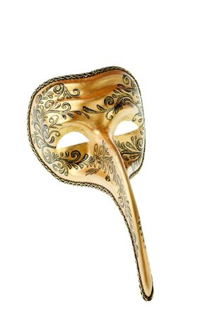 black and gold venetian  mask isolated on a white background photo