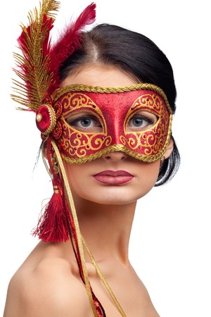 beautiful young woman wearing red carnival mask