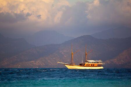 frigate: Vintage Frigate sailing on sunset Stock Photo
