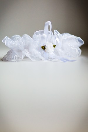 Wedding garter of the bride photo