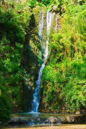 balchik: Waterfall in the botanical garden at Balchik, Bulgaria. Stock Photo