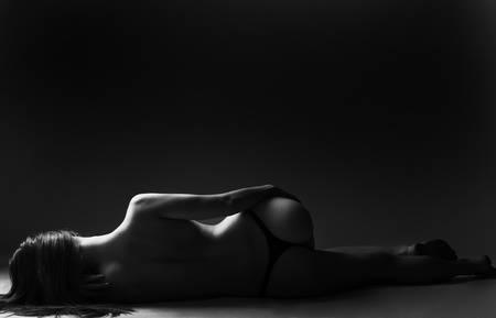 erotic: classic low key photo of sexy woman body
