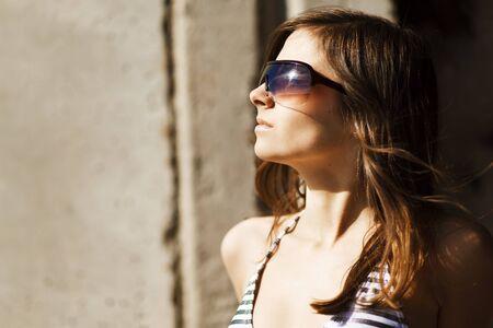 fashion woman portrait wearing sunglasses photo