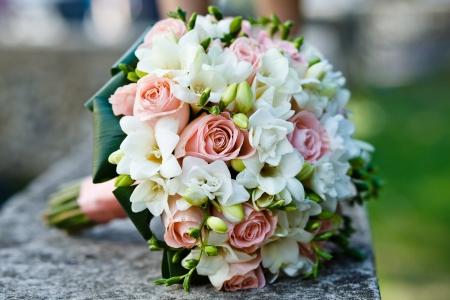bruidsboeket: close-up van huwelijksboeket
