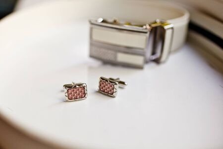cuff links: Man Belt with Cuff Links Stock Photo