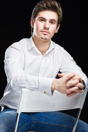sexy male model: Fashion young businessman in white shirt Stock Photo