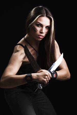 sexy police: Sexy woman holding dagger