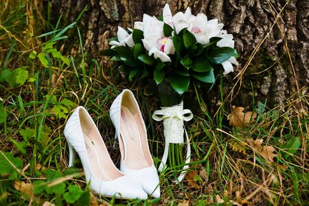 close up of wedding bouquet with shoes Stock Photo - 12880634