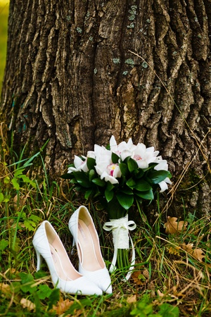 close up of wedding bouquet with shoes Stock Photo - 12880635