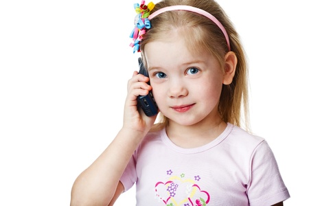 Full isolated studio picture from a little child with cell