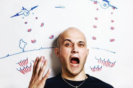 young man face scream. War conception Stock Photo - 13045773