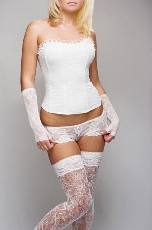 girdle: Beautiful woman in white underwear
