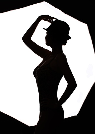 stylish silhouette beautiful woman dancing cabaret isolated white background