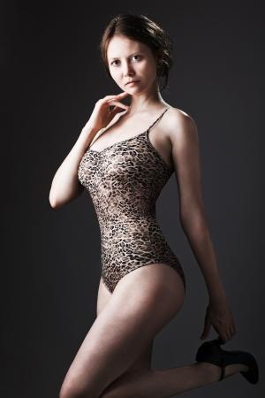Beautiful woman in white underwear photo