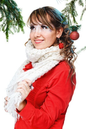 beautiful woman in warm clothing with white neckerchief photo