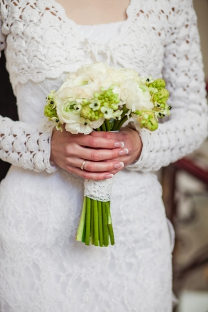Beautiful Wedding Bouquet In Hands Of The Bride Stock Photo Picture