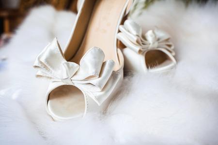 fiance: closeup photo of beautiful brides shoes