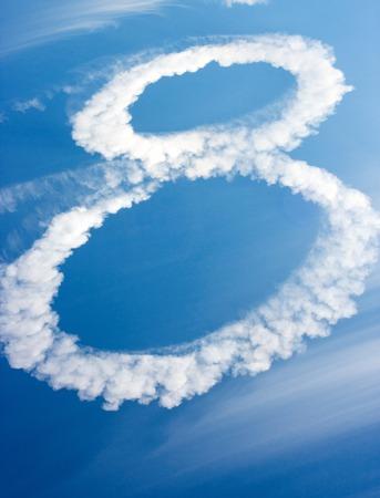 nubi in forma di figura otto sul cielo blu