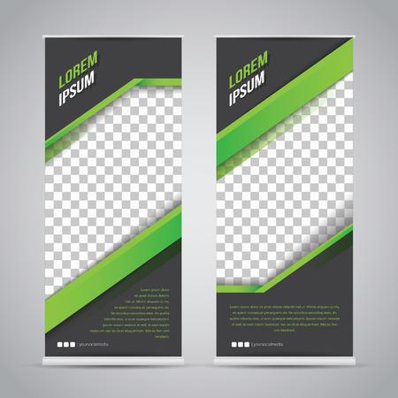 Green Black Roll Up Banner Template Mock Up Illustration
