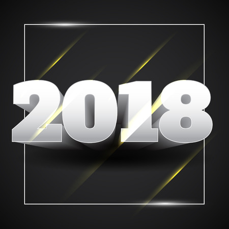 Vector Illustration of Happy New Year 2018 White Text with Black Background