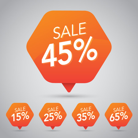 10%, 15% 20%, 25%, 30%, 35%, 45%, 50%, 65%, 70% Sale, Disc, Off on Cheerful Orange Tag for Marketing Retail Element Design Vettoriali