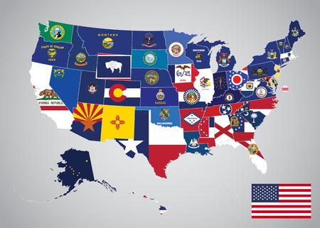 Verenigde Staten met staten en hoofdstad vlag kaart