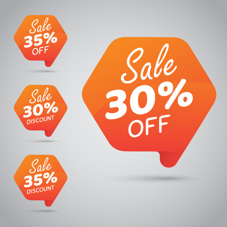 30% 35% Sale, Disc, Off on Cheerful Orange Tag for Marketing Retail Element Design