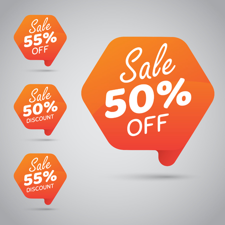 50% 55% Sale, Disc, Off on Cheerful Orange Tag for Marketing Retail Element Design