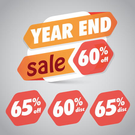 Year End Sale 60% 65% Off Discount Tag for Marketing Retail Element Design