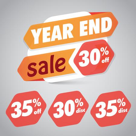 Year End Sale 30% 35% Off Discount Tag for Marketing Retail Element Design Illusztráció