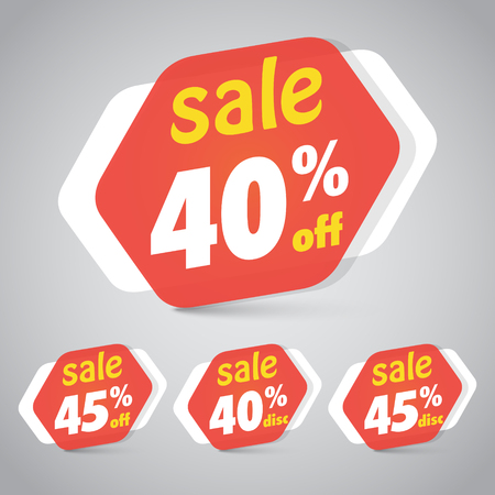 Sale Sticker Tag for Marketing Retail Element Design with 40% 45% Off. Vector Illustration.