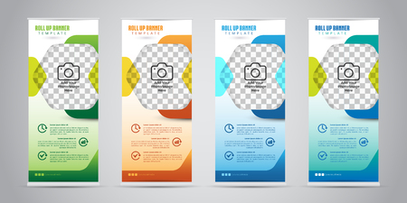 Business Roll Up Banner with 4 Various Color. Standee Design. Banner Template. Vector Illustration