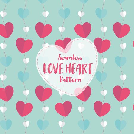Love Heart Seamless Pattern on Romantic Pastel Color. Vector Illustration.  イラスト・ベクター素材