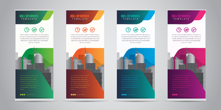 Business roll up banner with 4 various colors. Standee design banner template vector illustration. Vectores
