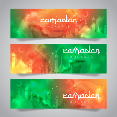Ramadan Mubarak Islamic Greeting of Holy Month Banner Template Illustration