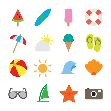 Summer Icon Set - Flat Outline