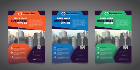 Corporate Business Flyer Design Template with 3 Various Options.  Vector Illustration.