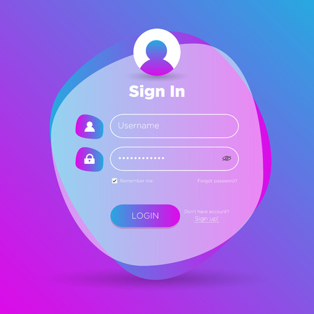 Flat Login User Interface. Sign In Web Element Template Window. Business Website Modern UI Ilustrace