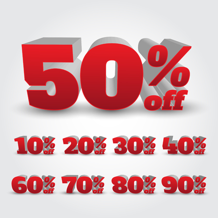 Set of 3D Promotional Discount - Vector Illustration