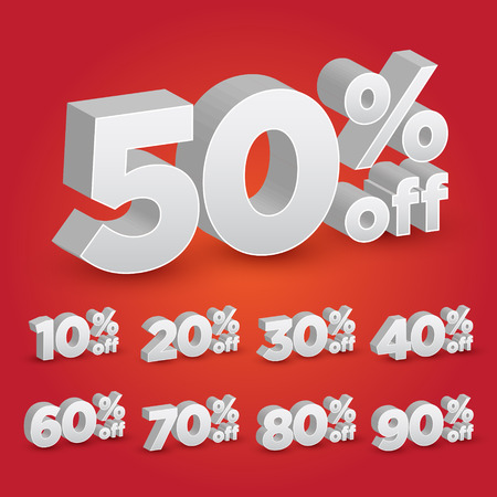 Set of 3D Promotional Discount - Vector Illustration